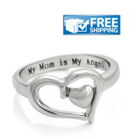 """Mother Gift - Heart Mom Ring Engraved on Inside with """"My Mom is My Angel"""", Sizes 6 to 9"""