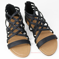 Left In The Dust Black Strappy Sandals