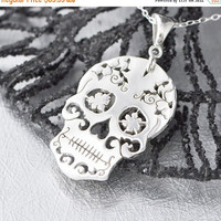 After Labor Day Sale Sterling Silver Sugar Skull Pendant, Sugar Skull Jewelry, Sugar Skull Necklace, Halloween Jewelry, Day of the Dead