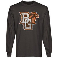 Bowling Green State Falcons Distressed Primary Long Sleeve T-Shirt - Charcoal