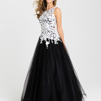 Madison James 16-342 Lace Applique Tulle Ballgown Prom Dress