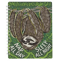 "Sloth Nap All Day Sleep All Night Spiral Notebook | 120 Lined Pages | 9"" x 7"" 