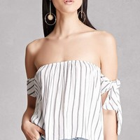 Off-the-Shoulder Stripe Blouse