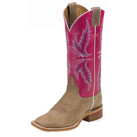 Women's Justin Tan Vintage Cow Pink 13in Top Cowgirl Boots