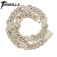 TOPGRILLZ 14mm Miami Generous Buckle Copper Material Cuban Necklace  Iced Out Cubic Zirconia Hip Hop Jewelry Gift  - jewelry fall 2021