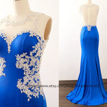 Royal Blue Prom Dresses, Lace Jersey Long Prom Gown , Silver Lace Roayl Blue Jersey Formal Dresses, Evening Gown, Wedding Bridesmaid Dress