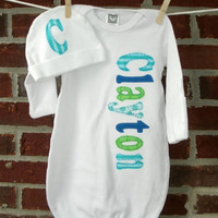 personalized baby gown, newborn coming home outfit, baby boy, monogrammed gown, personalized baby gift, monogram baby gift, newborn gown
