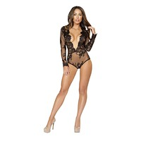 Roma Confidential LI167 - Long Sleeved Teddy with Open V-Shaped Front