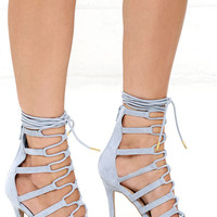 Caterina Ash Blue Suede Lace-Up Heels