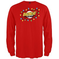 Big Bang Theory - Christmas Lights Bazinga Red Long Sleeve T-Shirt