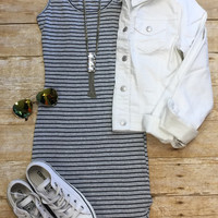 Staying In Stripes Ribbed Tank Dress: Grey