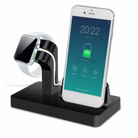 2 In 1 Charging Docking Station Desktop Cradle Stand for iPhone 6 Plus/6S Plus/7 Plus for iPhone 5 for Apple Watch Charger