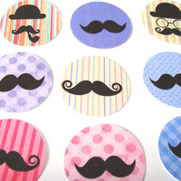 Trendy Stickers Set of 30 Mustaches Spectacles Bowler Hats Pipes  Fun and Funky