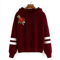 Fashion Women Embrodiery Rose Long Sleeve Stripe Hoodie Shirt