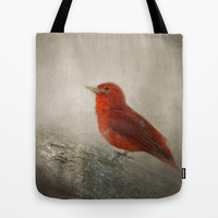 Song of the Summer Tanager 1 - Birds Tote Bag by Jai Johnson