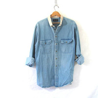 20% OFF SALE...vintage washed out jean shirt. oversized denim shirt. button down shirt. denim pocket shirt.