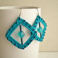 Teal Original square earrings - Teal Bridesmaid earrings - Teal lace earrings - Bridal earrings - Lace earrings - Lacy trend jewelry