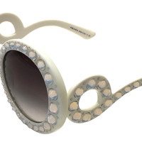 PRADA PR 31PS TKL-0A7 ORNATE BAROQUE SUNGLASSES IVORY WHITE WITH WITH CRYSTALS