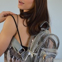 Clear Your Mind Clear Snakeskin Mini Backpack