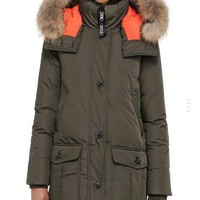 Mackage Women's Sabra Paul & Joe Down Parka, Army, Small