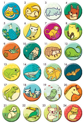 Image of Miniature Menagerie Buttons - Mix and Match (Set of 4)