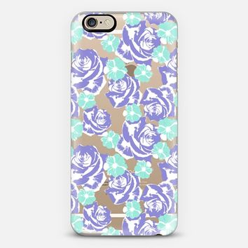 Lilac Turquoise Roses Cosmos Pattern iPhone 6 case by Organic Saturation | Casetify