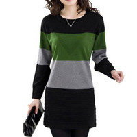 Autumn winter new style women large size clothing patchwork long sleeve O-Neck female pullovers long style brief lady sweaters