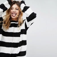Rokoko Halloween Oversized Jumper With Distressing In Stripe at asos.com