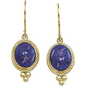 14kt Yellow Gold Genuine Lapis Cabochon Earrings