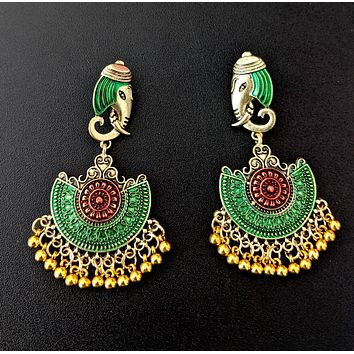 Elephant face stud with matte meenakari work gold bead hanging antique earring