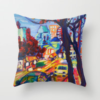 Rushing From Downtown  Throw Pillow by Morgan Ralston