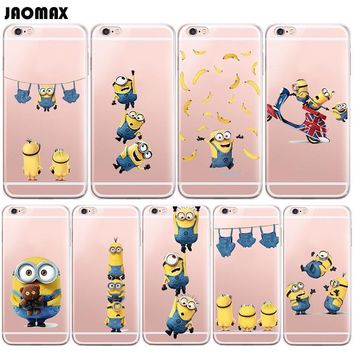 Cute Cartoon Despicable Me Yellow Minions Case For iPhone X Xs Max 6S 6 Plus 5 5S SE 8 7 Plus Transparent Silicone Phone Cover