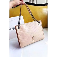 YSL hot seller of women's plain color simple shoulder bag fashion shopping bag Apricot