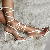 2020 new women's laces transparent thick heel fashionable all-match high heels shoes