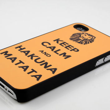 keep calm and hakuna matata - iPhone 4 case iPhone 4 cases iPhone 4s case iphone cover personalized iphone case