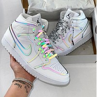 NIKE Air Jordan 1 Black and white reflection casual sports basketball shoes