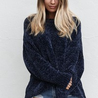 Share The Warmth Navy Chenille Sweater