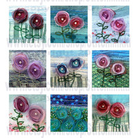 """2.25"""" square tiles - Instant Download flowers - digital collage sheet organza flowers by Jackie Chadwick"""