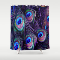Purple Peacock Feather Shower Curtain by Erika Kaisersot