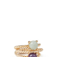 FOREVER 21 Faux Stone Ring Set Gold/Jade 6