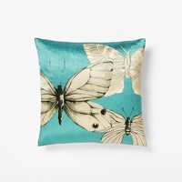 Butterfly Sketch Silk Pillow Cover