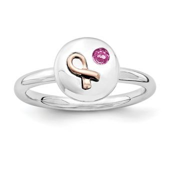 Sterling Silver Stackable Expressions Rose Gold Breast Cancer Awareness Ribbon Pink Sapphire Ring