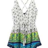 Printed Strappy Open Back Short Dress