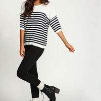White Classic Striped Boxy Sweater