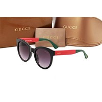 Gucci Fashion Women Men Colorful Glasses Contrast Glasses Green&Red B-ANMYJ-BCYJ