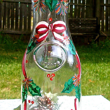 Hand Painted Christmas Carafe With A Ribbon And Holly