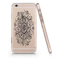 Floral Pattern Transparent Plastic Phone Case for Iphone 6