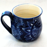 Mug unique coffee mug Handmade and hand decorated mug for coffee or tea in royal blue detailed patchwork style patterns incised