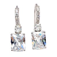 Exquisite Emerald Cut 4CT Dangling CZ Earrings For Woman