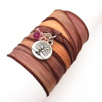 Silk Wrap Bracelet with Tree of Life   charmed design
